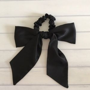 J Crew Black Satin Bow Hair Tie